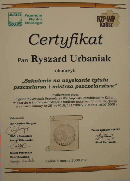 certyfikat mistrz pszczelarski